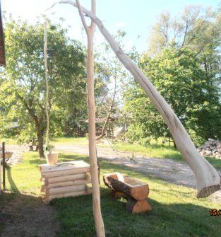 Studnia drewniana z żurawiem