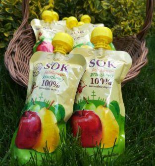 Sok jabłkowo-gruszkowy 100% naturalnie mętny 200 ml